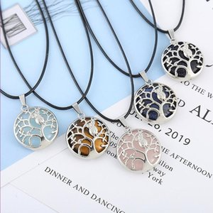 Wholesale 10 pcs Silver Plated Owl Opalite Opal Pendant Black Rope Chain Necklace Blue Sand Stone Jewelry