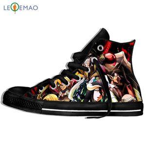 Harajuku Estilo de imagem personalizada Impressão Sneakers Chegada Popular Anime Overlord II Men / Plimsolls lona respirável Walking Plano