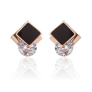 New Souvenirs Frauen Friendship Rose Gold überzogenen Titanstahlohrring-Schwarz-Emaille-Kristall Zirkon Ohrringe