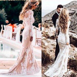 2020 vestidos de la tripulación Vestidos de novia boda de la sirena del cuello de manga larga de los vestidos de novia estilo de país Bohemain Boho vestido de novia BC3199
