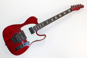 Factory Hot Dark red Electric Guitar with White Pearl Pickguard,Rosewood Fretboard,Tremolo,Black Hardwares,can be customized.
