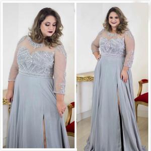 2020 Arabisch Silber wulstige Kristalle Brautmutterkleid Transparenter Ansatz Chiffon- Mutter des Bräutigams Kleider reizvolle formale Partei Abendkleider