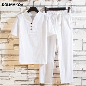 (Shirt + trousers) 2020 summer fashion men shirt Man Cotton and linen shirts Short sleeve men's casual shirts men size M to 5XL MX200518