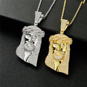 Luxury Design tamanho grande presente da jóia de ouro 18k Jesus Avatar pingente colar de ouro de prata Mens Bling