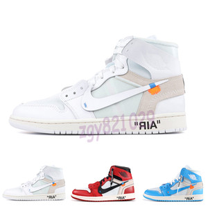 OFF WHITE X Nike Air Jordan 1 Hommes 1 Basketball Chaussures Sneakers Off UNC Chicago Sky High Bleu 2020 Nouvelle Jumpman Femmes X Og Sport Zapatos Baskets Designer Chaussures