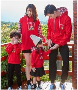 Coincidencia de la familia de la técnica ropa de invierno 2019 abrigo de mamá e hija de la manga completa Negro Rojo