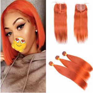 Paquetes de cabello humano naranja con cierre Extensiones de cabello virgen de la Virgen de Malasia Paquete de cabello naranja recto 3 piezas Ofertas con cierre de encaje