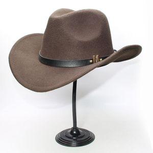 LUCKYLIANJI Donne Uomini Vintage lana Ampia Brim Cowboy occidentale Cowgirl Bowler Hat Fedora Cap M Lettera cinturino in pelle (57 centimetri / Regolazione)