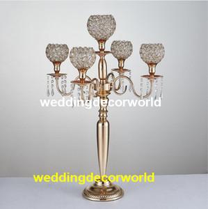 Son Kristal Düğün Centerpiece cam Altın Şamdan Temizle Mumluk Olay Parti Masa Dekorasyon decor0771