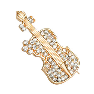 Golden Tone Clear Crystal Colored Rhinestones Acoustic Guitar Brooch Pin