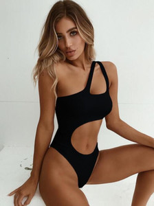 Top online Women's one piece swimwear solid sexy gathering irregular split swimwear flash irregular bikini sexy splicing Bikinis set yakuda