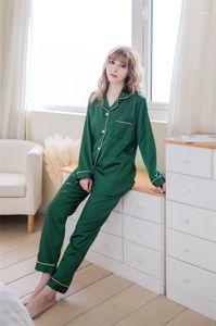 Lapela manga comprida Pijamas Calças cor sólida Casual Set Ladies Primavera Outono pijamas solto