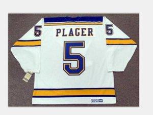 5. BOB PLAGER Louis Blues 1967 CCM Hockey Jersey Boyut S-5XL Vintage veya özel herhangi bir ad veya numara Custom Erkekler Gençlik kadınlar