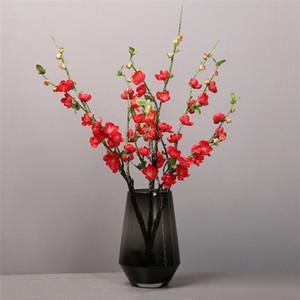"""Sahte Peach Blossom (5 kaynaklanıyor / adet) 27,56"""" Uzunluk Simülasyon Erik Çiçeği Düğün Ev Dekoratif Yapay Çiçekler için"""