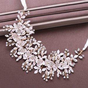 Alloy leaves Rose Gold Crystal Flower Bridal Headpiece Wedding Headband Tiara ribbon Hairband Hair Jewelry women crown A1676