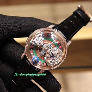 New estática versão EPIC X CHRONO CR7 esqueleto Astronomical Roulette Dial Swiss Quartz Mens Watch Case Gold Rose Leather Strap Esporte Relógios