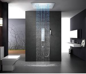 욕실 LED 샤워 믹서 탭 천장 마운트 빗물 폭포 제트 샤워 헤드 핸드 헬드 스프레이 + 주둥이 + 4 방향 자동 온도 조절 밸브 컨트롤러