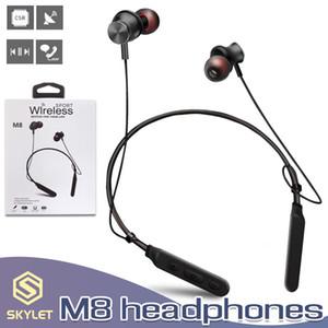 M8 سماعات بلوتوث لاسلكية شريط حول ياقة الملابس سماعة ستيريو الرياضة المغناطيسي سماعة إلغاء الضوضاء مع ميكروفون في صندوق