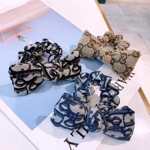 Mulheres Designer Carta de Borracha Do Cabelo da Faixa de Laço de Cabelo Elástico Corda Rabo de Cavalo Titular Acessórios Para o Cabelo de Luxo