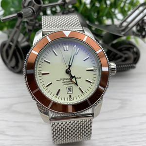 Heritage Data Mens 47 milímetros Caso Relógios Diâmetro Large White Dial Calibre 20 relógio automático de aço inoxidável de malha Pulseira Relógios de pulso