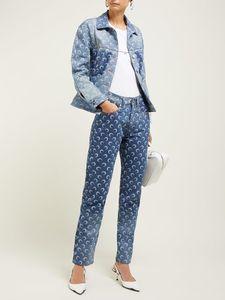 2020 Impresso Lua Padrão Primavera Mulheres de Verão painel fino do Crescente Ankle Comprimento Calças Jeans Nova