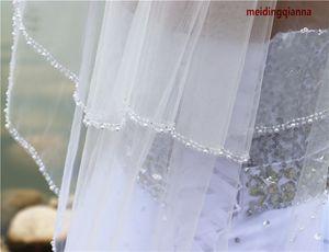 Top Hot Bestseller Zwei Schicht Perlen Rand Fingerspitzenlänge Weiß Elfenbein Rot Legierung Kamm Brautschleier Hand genagelt Perlen