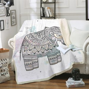 Wholesale 3D Digital Printing Blanket Air Conditioning Quilt Thickening Double Plush Blanket Elephant Pattern Series MT0031