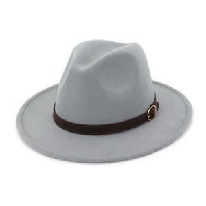 Sombrero de fieltro de lana vintage Sombrero de ala ancha Señoras Trilby Chapeu Sombrero femenino Mujeres Hombres Jazz Church Padrino Sombrero Gorras