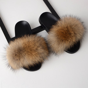 Women Fox Fur Slippers Real Fur Slides Female Indoor Flip Flops Casual Raccon Fur Sandals Furry Fluffy Plush Shoes M517