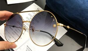 Роскошная мода женщин дизайнер солнцезащитные очки металл большой круглый рамка очки личность стиль отдыха очки UV400 защиты с Case