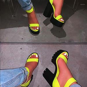 2020 nuevo de la manera del alto talón de las mujeres sandalias hechas a mano cómodo sólido color más tamaño Mujeres Sandalias Zapatos de Mujer1