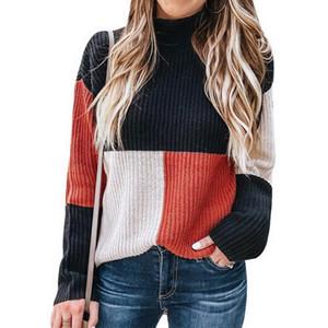 Casual JODIMITTY nuevo otoño invierno de las mujeres de punto tela escocesa del remiendo jersey de cuello alto suéter manga larga Mujer
