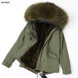 sahte gevşek asker yeşili ceket Streetwear moda astarı OFTBUY 2019 Kış Ceket Kadınlar Gerçek Kürk Parka rakun kürk yaka
