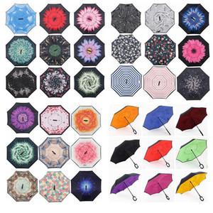 Creative Inverted Sun Umbrella pluie à long Handled parapluie double couche inverse coupe-vent Inverted Chuva Umbrella C-Hook Mains DWC842
