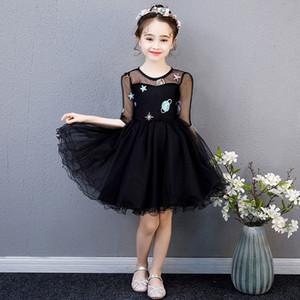 Vestido sin mangas de los niños de la princesa del partido del vestido Negro danza de la boda del baile de lentejuelas de dibujos animados del traje ceremonial elegante tul en capas Vestidos
