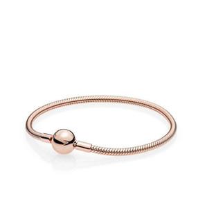 Красивые женщины 18k розовое золото 3 мм змея цепи браслет Fit Pandora серебряные подвески Европейский бисер браслет DIY ювелирных изделий