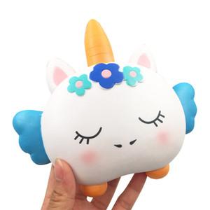Squishy boynuzlu kedi yüksek kalite Jumbo Yavaş Yükselen Yumuşak Boy Telefon Sıkmak oyuncaklar Kolye Anti Stres Çocuk Karikatür Oyuncak Dekompresyon
