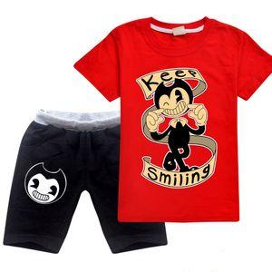 Kids Designer Clothes Baby Boys 2Pcs Clothing Sets Summer Tshirt + Shorts Cotton Keep Smiling Print Short Sleeve Cartoon Tracksuit Teen Boys
