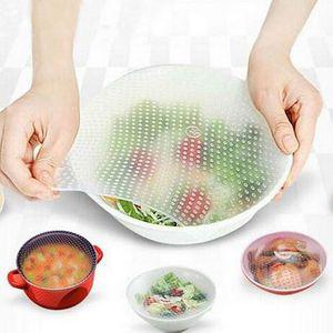 4adet Seti Silikon sarar Mühür Kapak Yeniden kullanılabilir Stretch Kapak Gıda Wrap Film Buzdolabı Gıda Saklama Kapak Vakum Sealer Mutfak Aletleri BH2110 CY