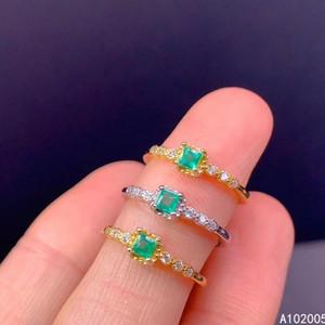 Cluster Anéis KJJeXcmy Jóias Finas 925 Sterling Silver Inlara Natural Gemstone Emerald Feminino Anel Clássico Support Test com caixa