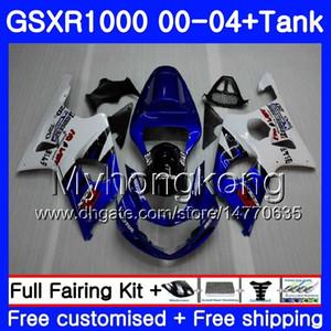+ Réservoir Cadre bleu vif Pour SUZUKI GSX R1000 GSXR1000 2000 2001 2002 2003 2004 299HM.51 GSXR-1000 K2 GSX-R1000 K3 GSXR 1000 01 02 03 04 Coiffage