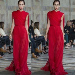 2020 Elie Saab rouge en mousseline de soie longues robes de soirée Volants haut cou étage longueur de bal Robes Runway mode Robes Red Carpet