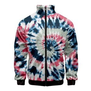 Colorful Psychedelic Tie Dye 3D Printed Women men Hoodies Sweatshirt Stand Collar Zipper Jacket Casual Sportswear Streetwear