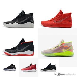 Ucuz erkek 12 basketbol ayakkabıları siyah beyaz gümüş altın Takım Kırmızı Pembe Easters kd12 kevin kutu boyutu ile Durant 12s spor ayakkabıları botları 5 13 mvp kd