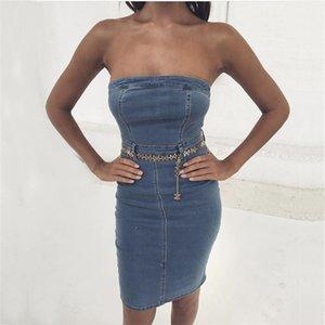 Neck Backless платье Мода естественного цвет платье без рукавов Женской одежды Женской дизайнер джинсового платья Sexy Slash