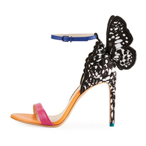 Sıcak Satış-Kelebek Parti Kelebek Angel Wings Sandalet Kadın Açık Burun Ayak bileği Toka Kayış İnce Yüksek Topuklar Ayakkabı