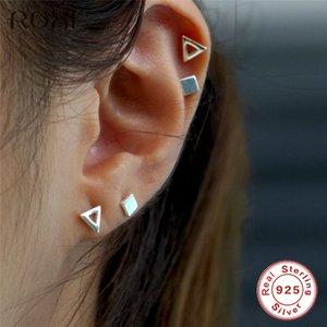 Roxi Avrupa Basit Tasarım Üçgen Stud Women 925 Gümüş Küpe Noel Takı için Küpeler Geometrik Küpe