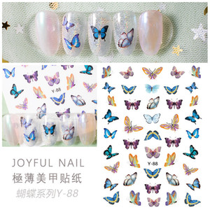 Top Venditore Y serie Y Adesivi per unghie Butterfly 3D Nail Art Sticker Decalcomanie Y88-Y94 6.0 * 9.0 cm