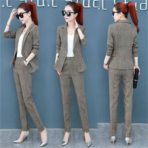 2019 women's new suit suit spring and autumn fashion temperament retro plaid casual professional two-piece TB190226