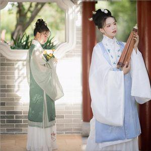 Hanfu 3 pezzi Opera Costumi originali nuovo stile Ming lungo cappotto giacca doppio strato ricamato gru Huangmei Opera Opera di Pechino